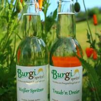 Weißer Spritzer trinkfertig Burgi g'spritzt Isabella Spritzer Weinbau Krobath Buschenschank Krobath